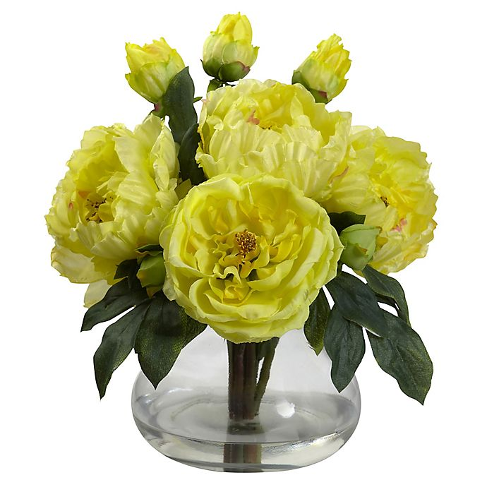 Alternate image 1 for Nearly Natural 14.5-Inch Peony and Rose Artificial Arrangement with Glass Vase in Yellow