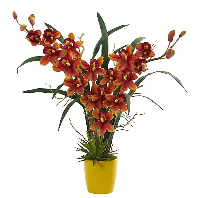 Alternate image 1 for Nearly Natural 23-Inch Cymbidium Orchid Artificial Arrangement with Ceramic Vase in Yellow