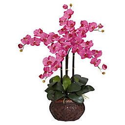 Nearly Natural Artificial Phalaenopsis Orchid Arrangement in Vase