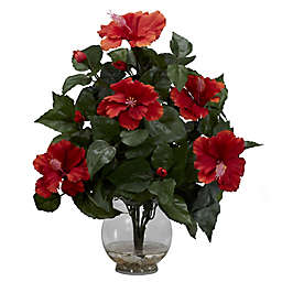 Nearly Natural Artificial Hibiscus Arrangement in Vase