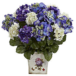 Nearly Natural Artificial Mixed Hydrangea Arrangement in Planter