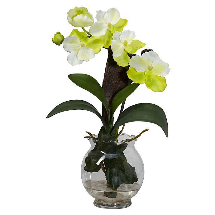 Alternate image 1 for Nearly Natural Mini Vanda Silk Flower Arrangement with Fluted Vase
