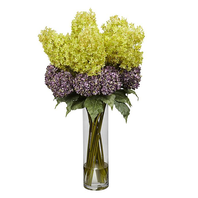 Alternate image 1 for Nearly Natural 40-Inch Mixed Artificial Hydrangea Arrangement with Cylinder Vase