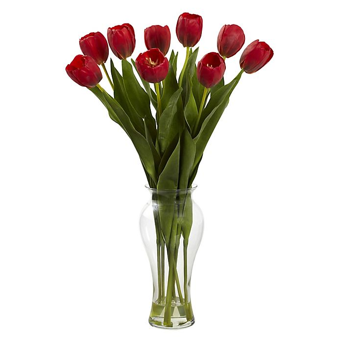 Nearly Natural 24 Inch Artificial Tulips Arrangement In Vase