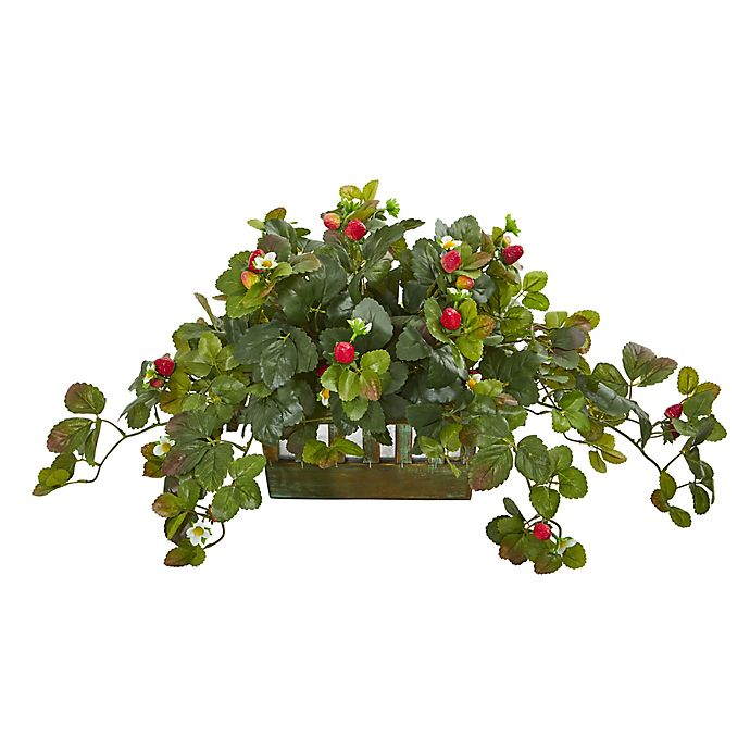 Alternate image 1 for Nearly Natural Artificial Strawberry Plant in Planter