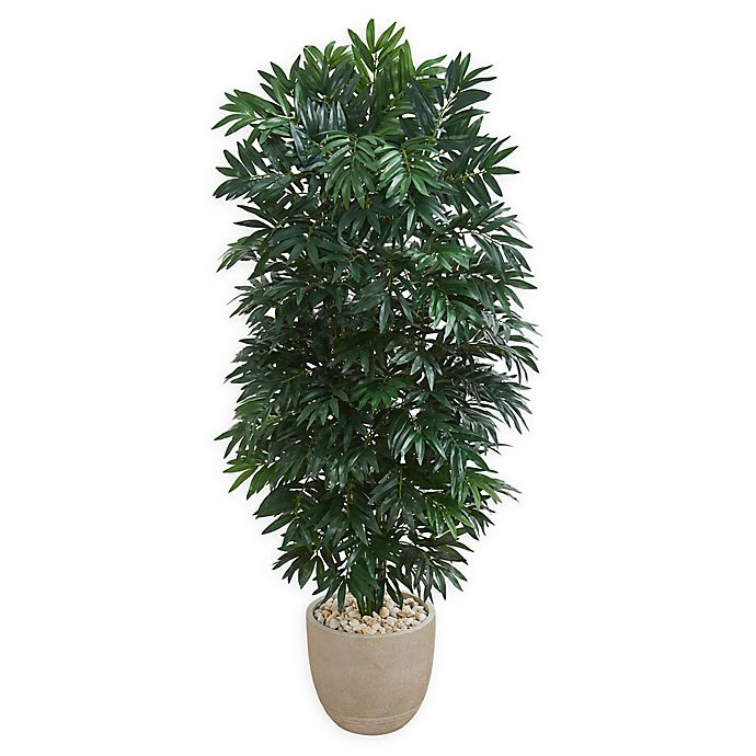 Alternate image 1 for Nearly Natural 5-Foot Bamboo Palm Tree in Sandstone Planter