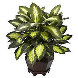 Nearly Natural 22-Inch Artificial Triple Golden Dieffenbachia Plant in Wood Vase