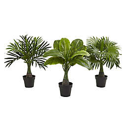 Nearly Natural Areca, Fountain and Banana Palm Artificial Trees (Set of 3)