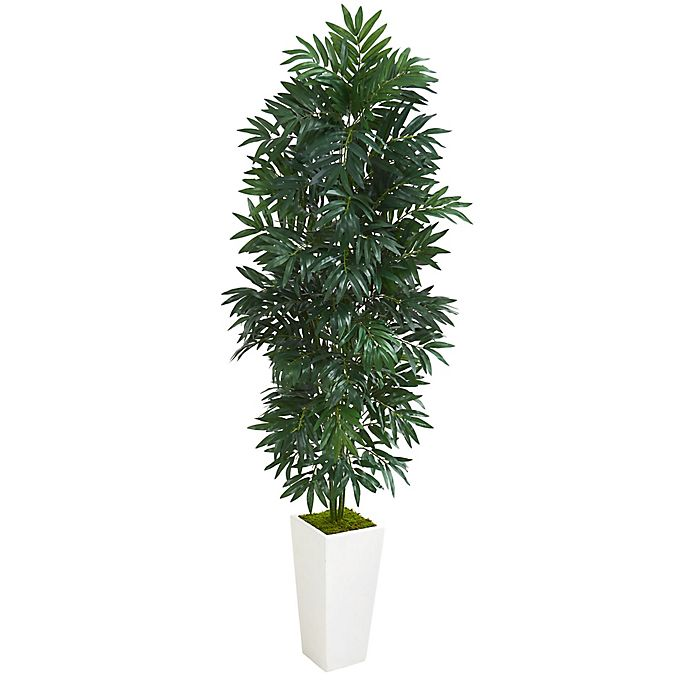 Alternate image 1 for Nearly Natural 5-Foot Bamboo Palm Artificial Plant in White Planter