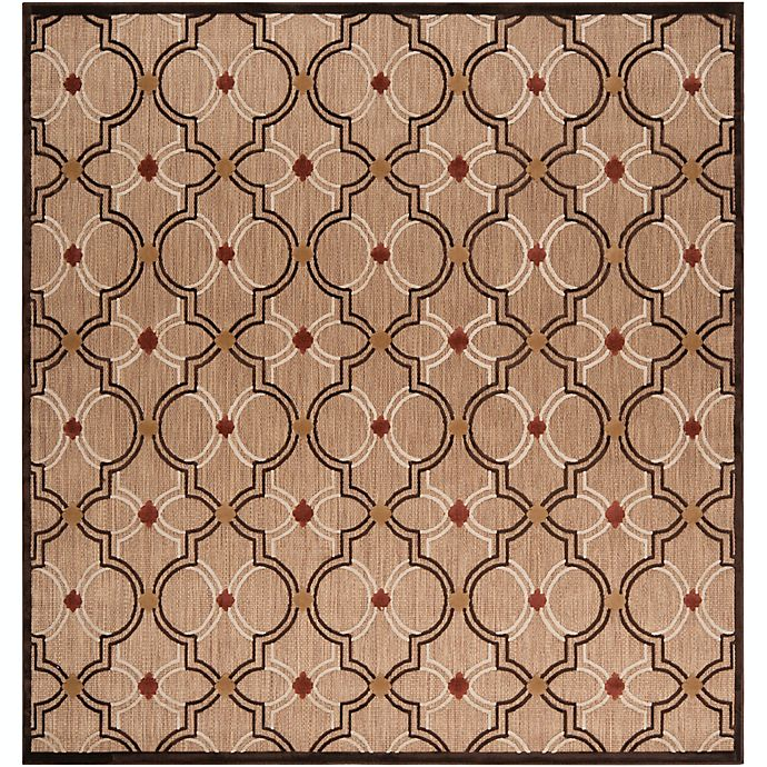 Alternate image 1 for Surya Modern Ikat 7'6 Square Indoor/Outdoor Rug in Brown