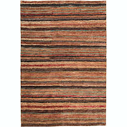 Surya Trinidad Striped Natural 2' x 3' Accent Rug in Rust/Wheat