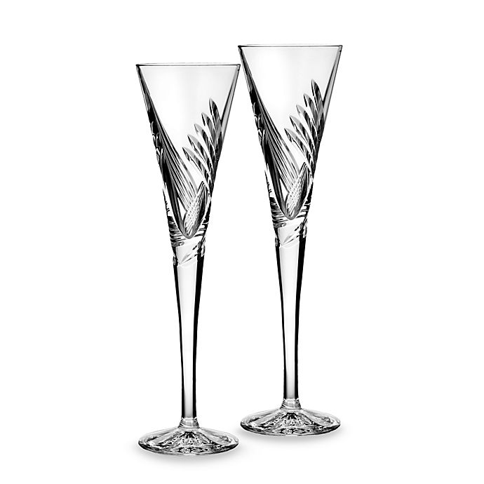 Waterford 174 Crystal Wishes Beginnings Toasting Flute Set