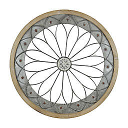 32-Inch x 32-Inch Round Metal and Wood Wall Art in Distressed White