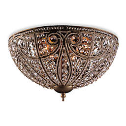 Lead Crystal With Dark Bronze Flush Mount Ceiling Fixture