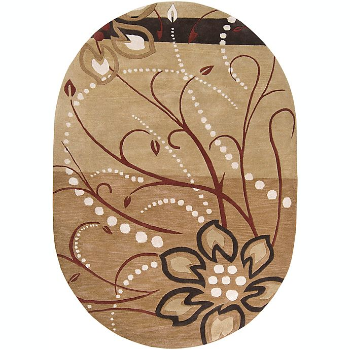Alternate image 1 for Surya Athena Floral 6' x 9' Oval Rug in Brown/Neutral