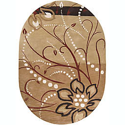 Surya Athena Floral Oval Rug in Brown/Neutral