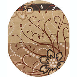 Surya Athena Floral 8' x 10' Oval Rug in Brown/Neutral