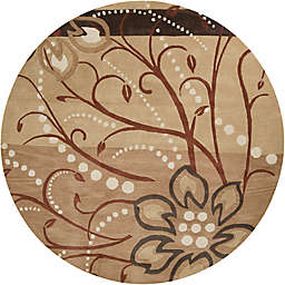 Surya Athena Floral Abstract 8' Round Rug in Brown/Neutral