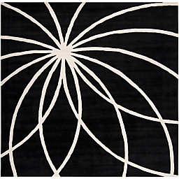 Surya Forum Modern 8' Square Area Rug in Black/Neutral