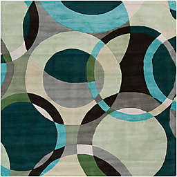 Surya Forum Modern Circles 4' Square Area Rug in Green/Neutral