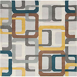 Surya Forum Geometric 4' Square Hand Tufted Area Rug in Green/Grey