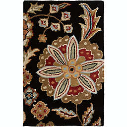 Surya Athena Floral Botanical 2' x 3' Hand Tufted Accent Rug in Black/Red