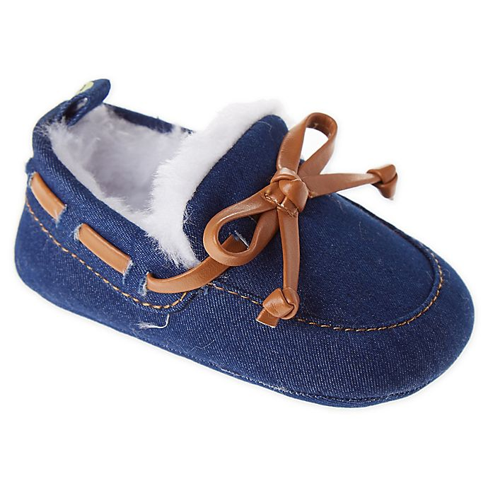 Alternate image 1 for First Steps Size 3-6M Moccasin Slipper in Navy
