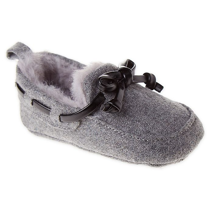 Alternate image 1 for First Steps Size 3-6M Moccasin Slipper in Grey