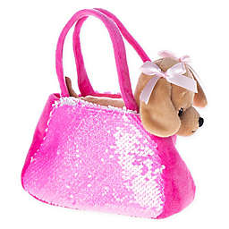 Carried Away 2-Piece Puppy Plush Toy and Sequin Handbag Set in Hot Pink