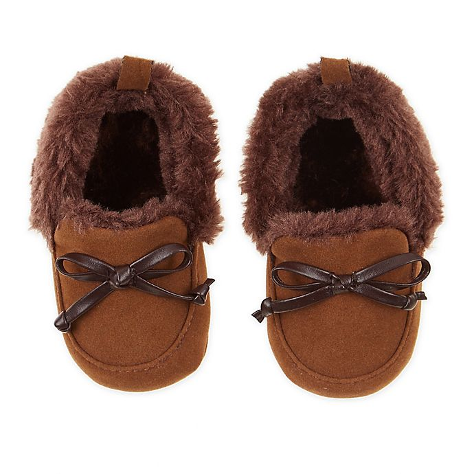 Alternate image 1 for First Steps Size 6-9M Camel Moccasin Slipper in Brown