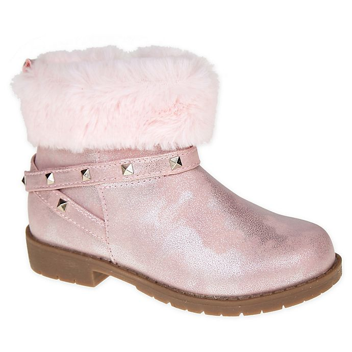 Alternate image 1 for Stepping Stones Size 5 Faux Fur Cuff Bootie in Pink