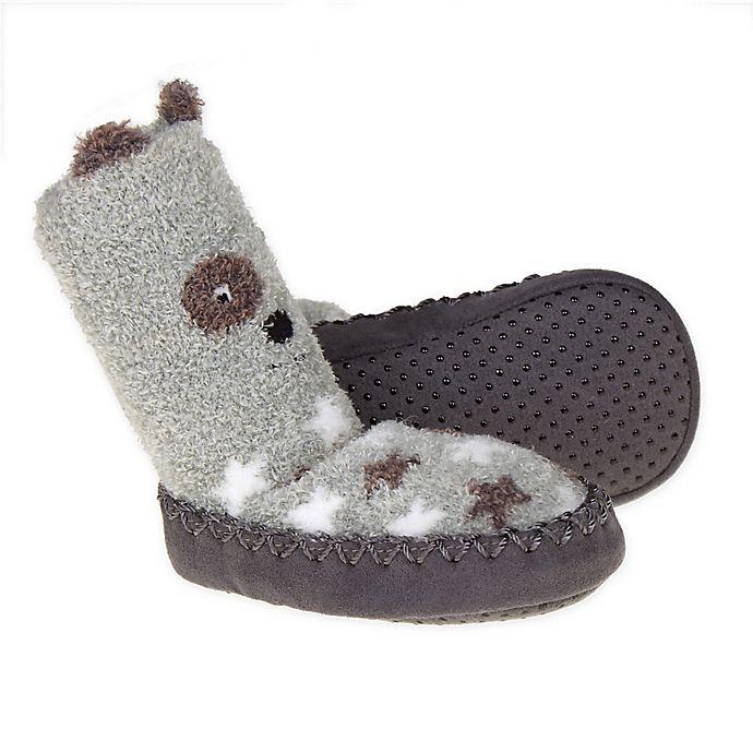 Alternate image 1 for First Steps Size 0-3M Dog Slipper Socks in Grey