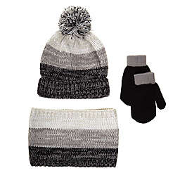 Nicole Miller New York 3-Piece Cold Weather Hat, Scarf, and Mittens Set