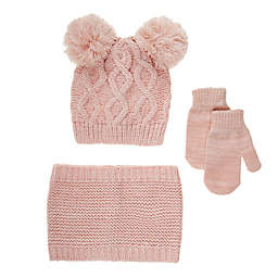 Nicole Miller New York 3-Piece Cold Weather Hat, Scarf, and Gloves Set in Rose