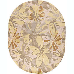 Surya Athena Floral Oval 8' x 10' Area Rug in Green/Yellow
