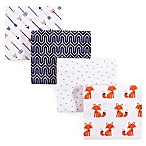 Hudson Baby® 4-Pack Foxes Flannel Receiving Blankets in Orange