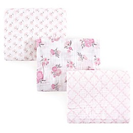 Hudson Baby® Pastel Floral 3-Pack Muslin Swaddle Blankets in Pink