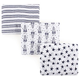Hudson Baby® Rocket Ship 3-Pack Muslin Swaddle Blankets in Blue