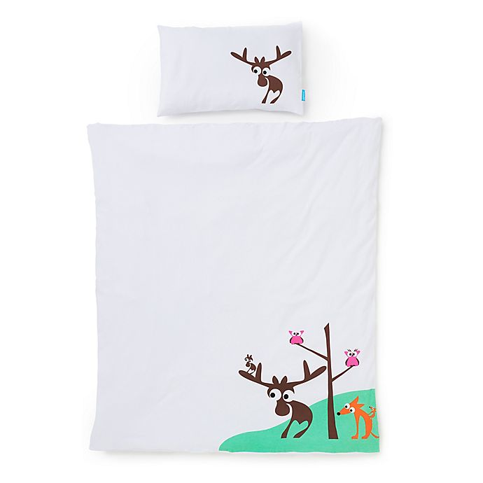 Alternate image 1 for Eggkids® 2-Piece Cars Organic Cotton Crib/Bed Duvet Cover and Pillowcase Set