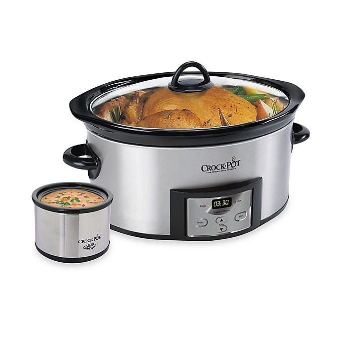 Alternate image 1 for Crockpot™ Stainless Steel 6-Quart Countdown Oval Slow Cooker with Dipper