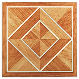Achim Tivoli 45-Pack 12-Inch Inlaid Parquet Floor Tiles in Orange