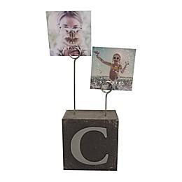 """Monogram """"C"""" Photo Clip Cube Frame in Black"""