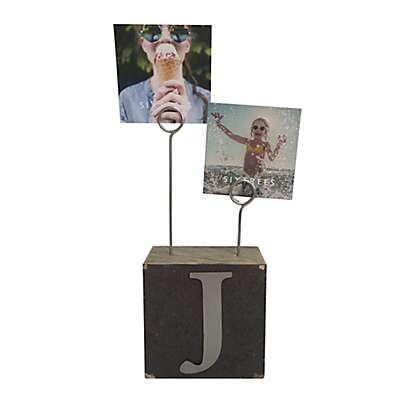 """Monogram """"J"""" Photo Clip Cube Frame in Black"""