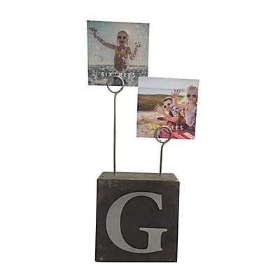 """Monogram """"G"""" Photo Clip Cube Frame in Black"""