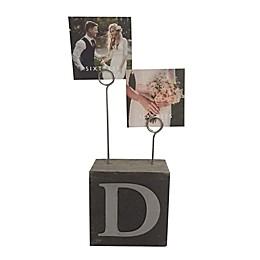 """Monogram """"D"""" Photo Clip Cube Frame in Black"""