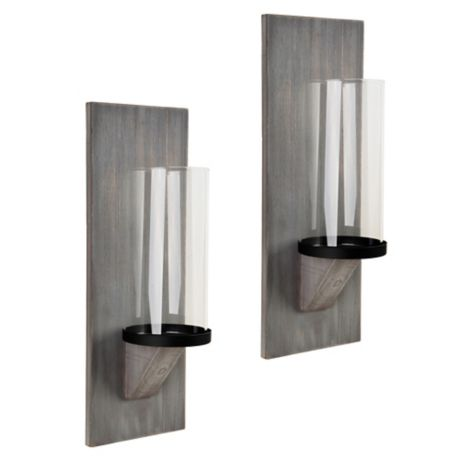 Heritage Home Grey Wash Wood Wall Sconce Candle Holders
