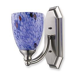 ELK Lighting 1-Light Vanity In Satin Nickel And Starburst Blue Glass
