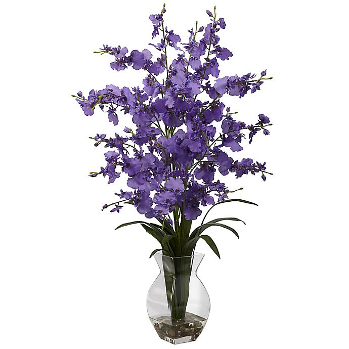Alternate image 1 for Nearly Natural 25-Inch Dancing Lady Orchid Artificial Arrangement with Glass Vase