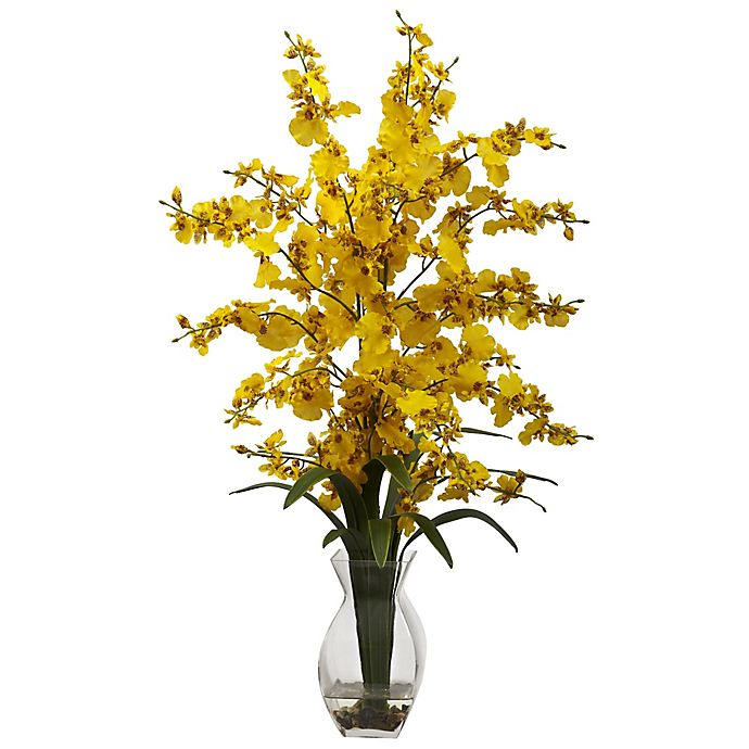Alternate image 1 for Nearly Natural 25-Inch Dancing Lady Orchid Artificial Arrangement with Glass Vase in Yellow