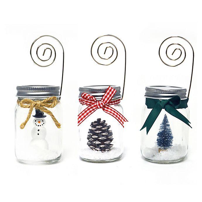 Alternate image 1 for Prinz Holiday Mason Jar  Photo Clip (Set of 3)